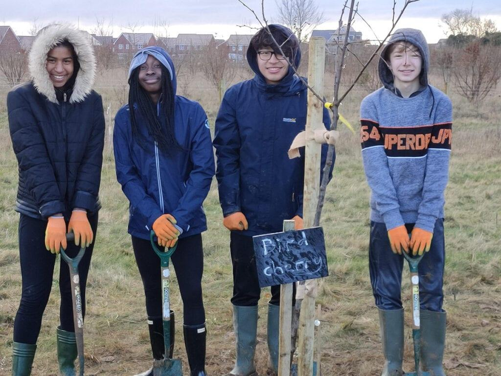 Tree planting at Rookwood School, Andover